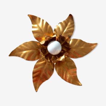 Applique ou plafonnier en métal doré fleur vintage
