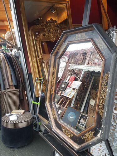 Miroir décoratif  noir et or hexagonal 82 cm x 69 cm