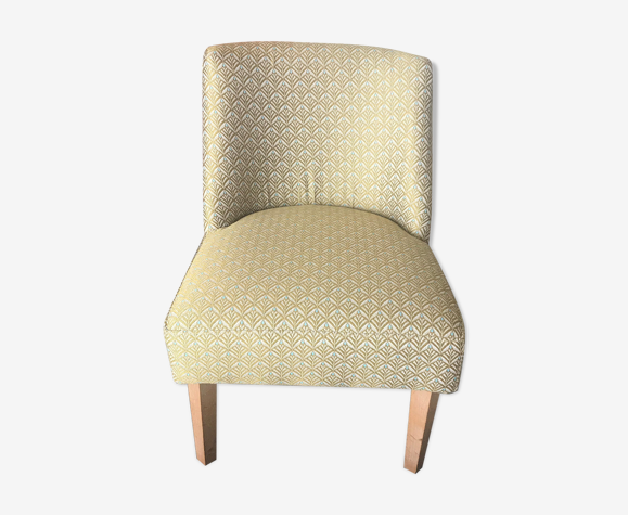 Small chair in gold-blue fabric