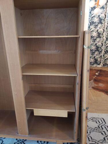 Armoire en bois et rotin vintage