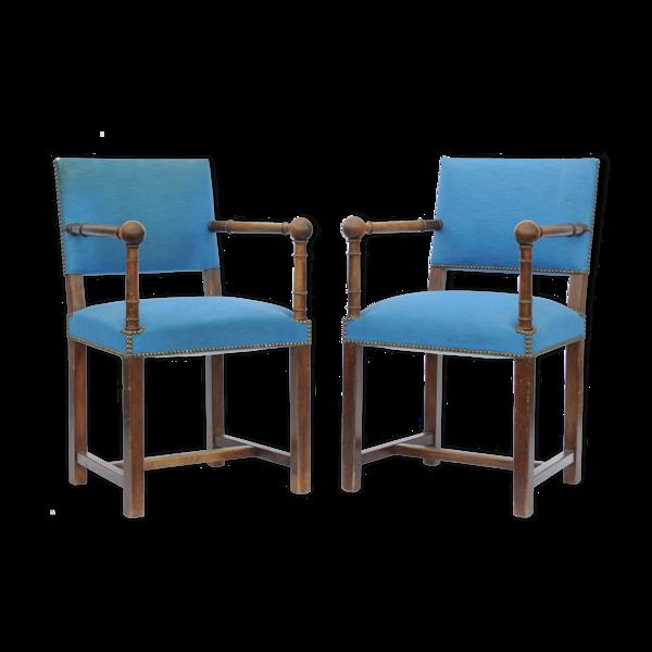Paire de fauteuils tissus bleu