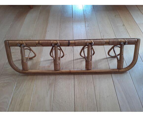 Rattan coat rack 4 hooks