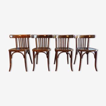 Set de 4 chaises de bistrot anciennes en bois courbé