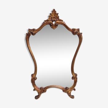 Miroir rocaille Louis XV en bois, doré à l'or