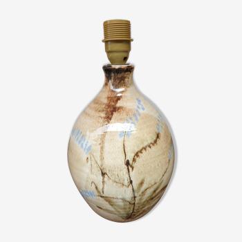 Pied de lampe vintage en céramique émaillée décor floral signée