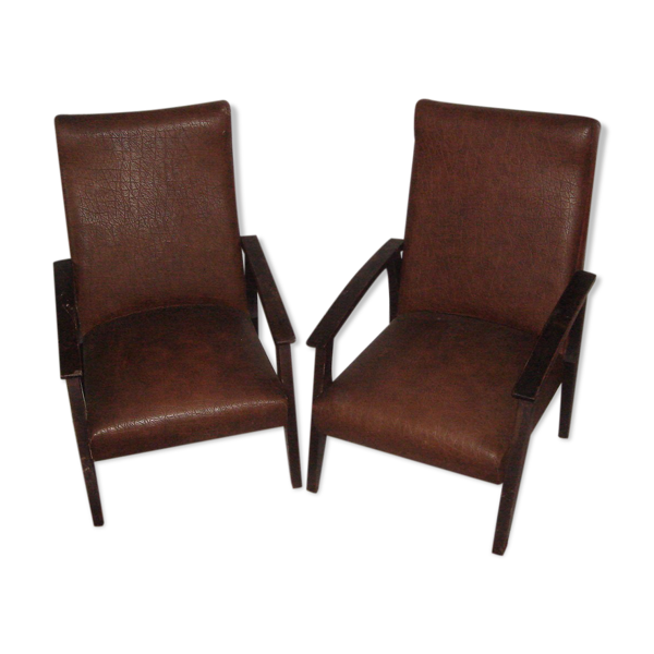 Paire de fauteuils en skaï de 1960