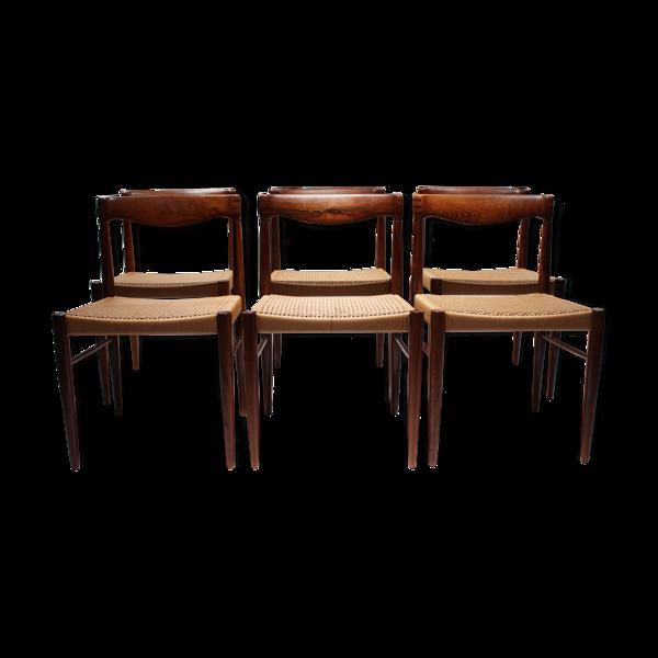 Ensemble de 6 chaises à manger en bois de rose, années 1960