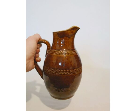 Ancien pichet cruche en grès marron vernissé H 20.5 cm