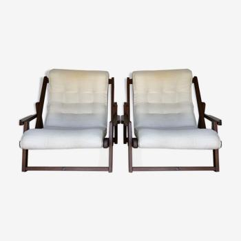 Paire fauteuils scandinave style chilienne 1970 bois tissu coussin