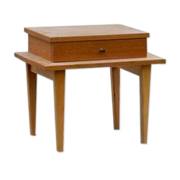Table de chevet bois clair vintage 1960