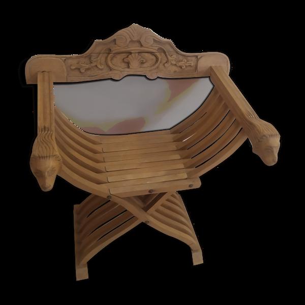 Fauteuil Moyen Âge Dagobert pliable en chêne