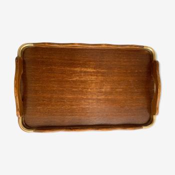 Plateau de service ancien en bois et laiton 61 x 38 cm