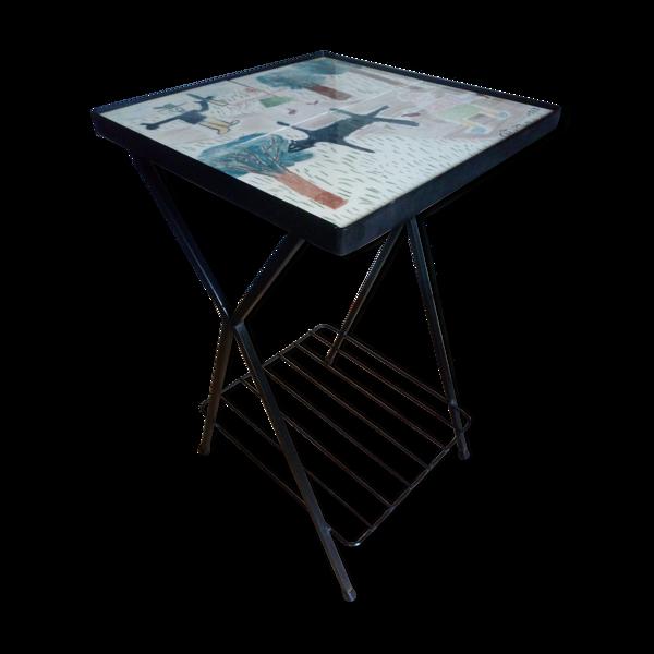 Table d'appoint en métal années 50