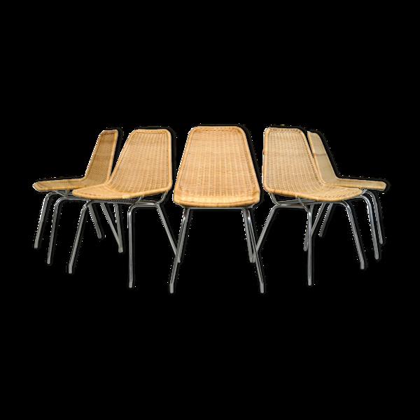 Lot de 5 chaises, modèle «Italia 100», produit par la société néerlandaise Rotanhuis, années 1960