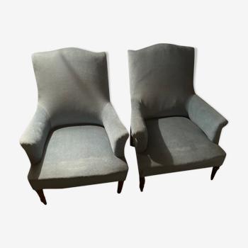Paire de fauteuils bleus