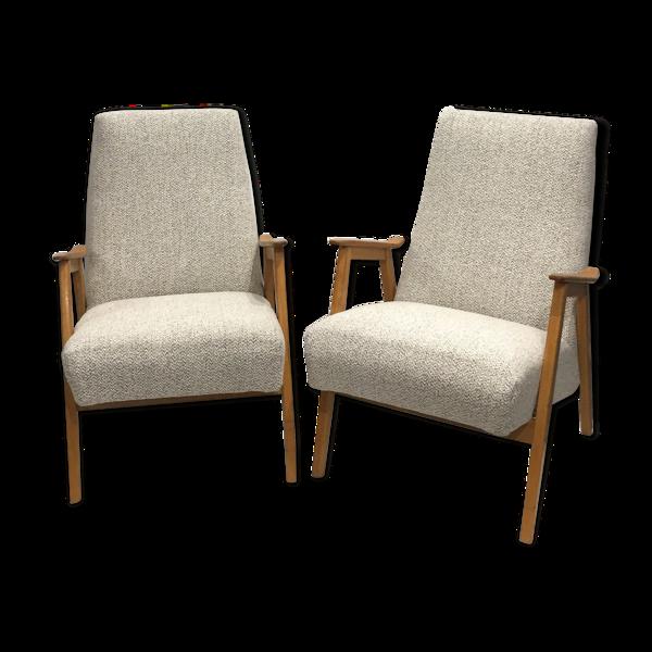Selency Paire de fauteuils années 60 retapissés
