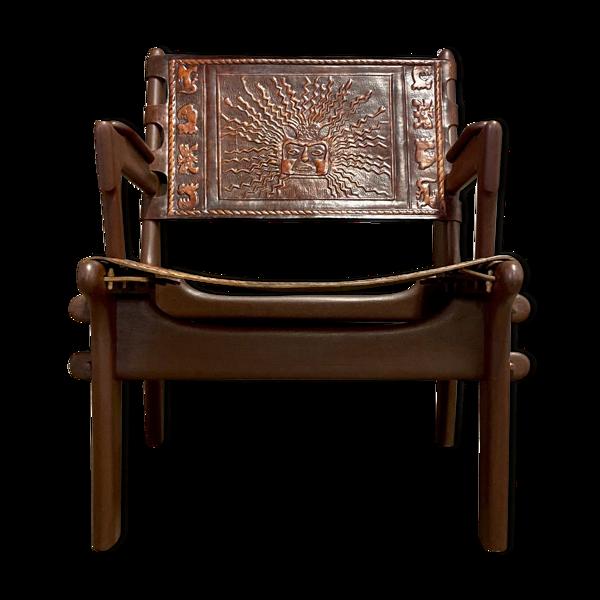 Selency Fauteuil en bois marron  A.Pazmino 1960 equateur