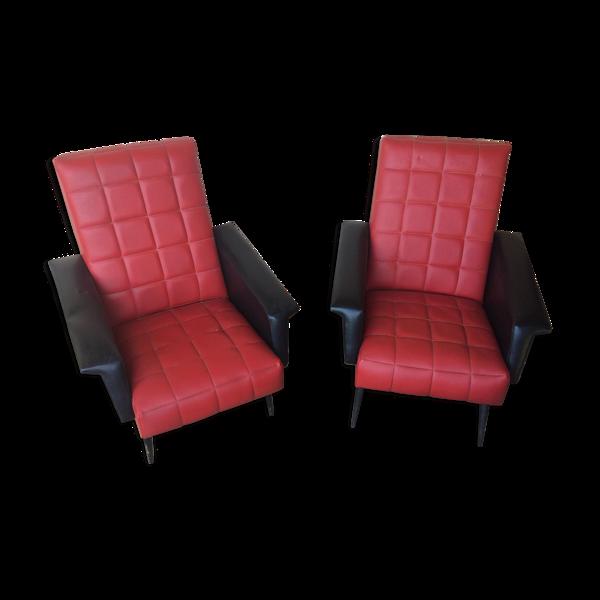 Lot de deux fauteuils vintage années 50/60