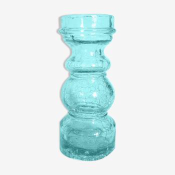 Vase vintage bleu en verre effet craquelé