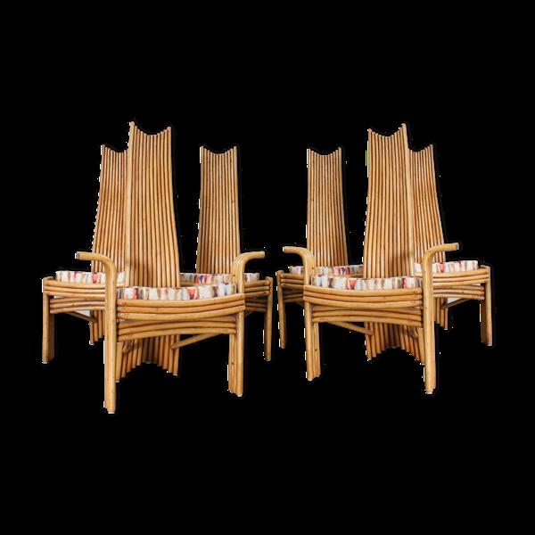 Ensemble de 6 chaises en bambou par mcguire années 1970