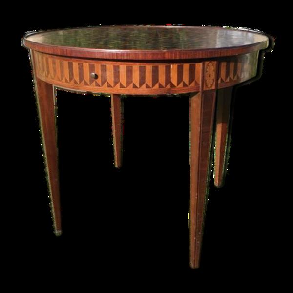 Table bouillotte en marqueterie E. Gallet Paris