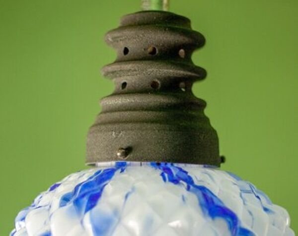 Suspension vintage abat-jour verre opaline art déco verre bleu blanc