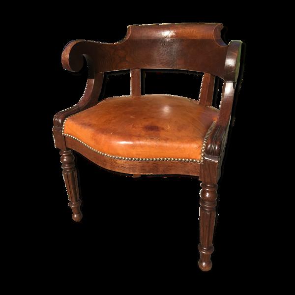 Selency Fauteuil de bureau Louis Philippe cuir ancien