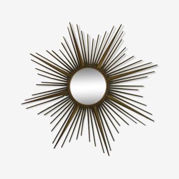 Miroir sorcière en métal doré XX siècle