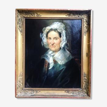 """Portait """"dame à la coiffe"""" huile sur toile entre 1820 et 1860. non signé. cadre ancien."""