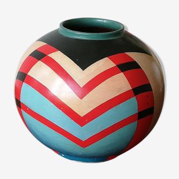 Vase péruvien des années 60 en céramique peinte