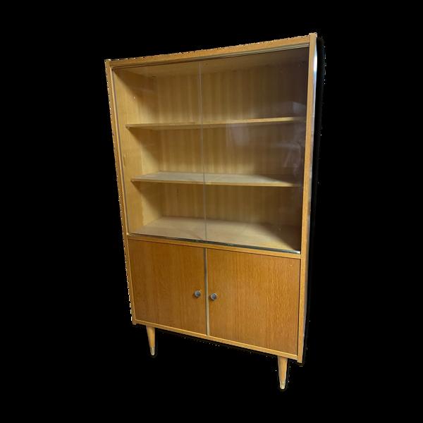 Bibliothèque en bois clair pieds compas