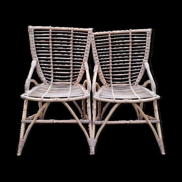 Duo de fauteuils en rotin