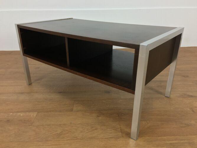 Table basse bois et aluminium années 70