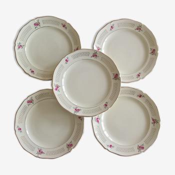 """Cinq assiettes à dessert Ceranord St Amand """"Roseline"""""""