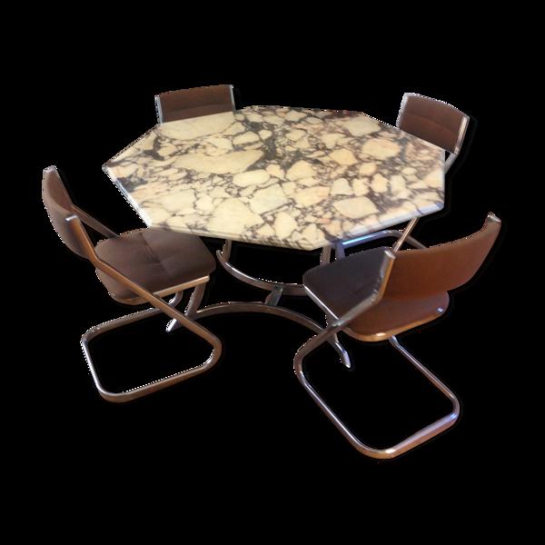 Selency Table marbre octogonale et 4 chaises