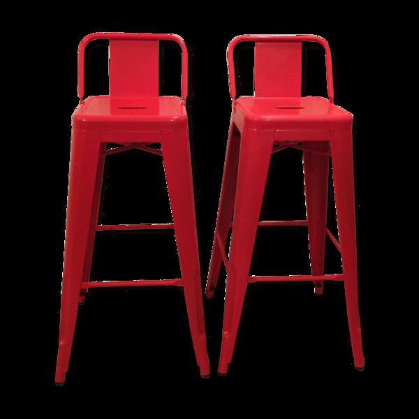 Selency Lot de 2 chaises de bar Tolix rouge