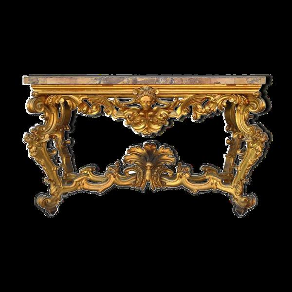 Console rocaille bois doré marbre romain XVIIème