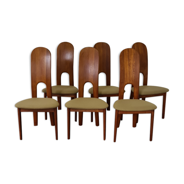 Set de  6 chaises à manger vintage danoises par Niels Koefoed