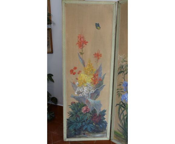 Paravent quatre feuilles au décor floral huile sur toile 2.40 x 1.69 m