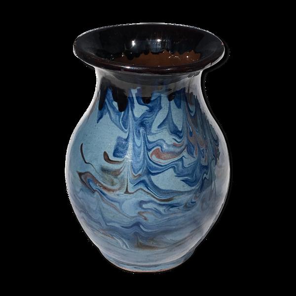 Vase vintage en céramique bleu et noir émaux marbré
