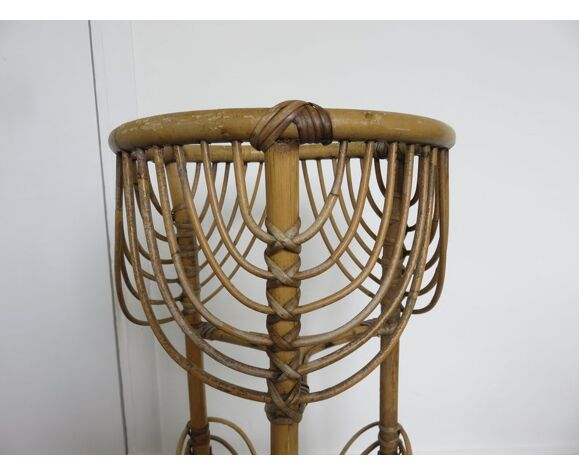 Porte plante tripode en rotin bambou années 50/60