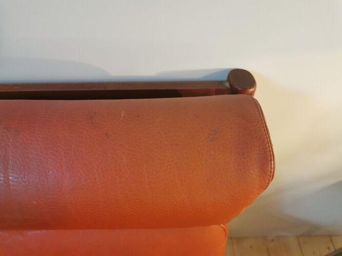 Fauteuil scandinave en teck et cuir des années 60 - dyrlund