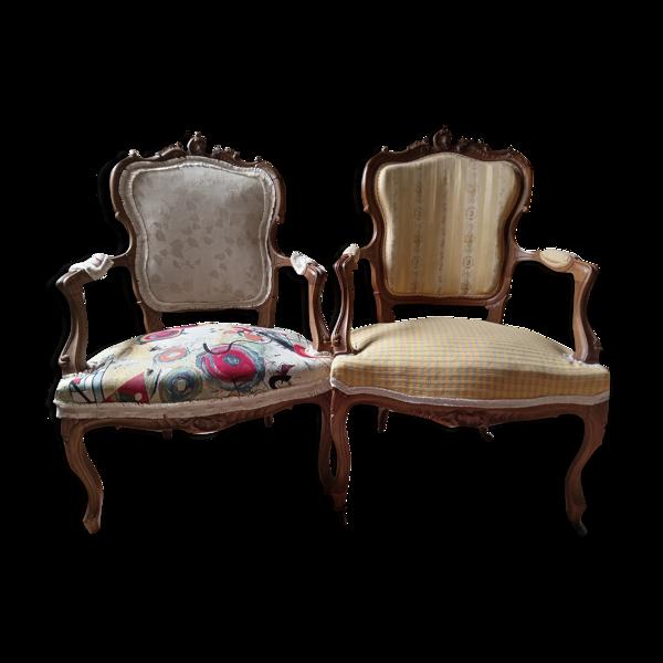 Paire de fauteuils cabriolets