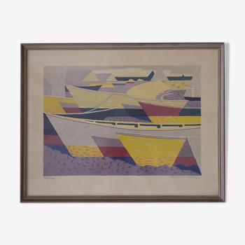 Båtparad, Lithographie en couleur par Waldemar Lorentzon, 1953