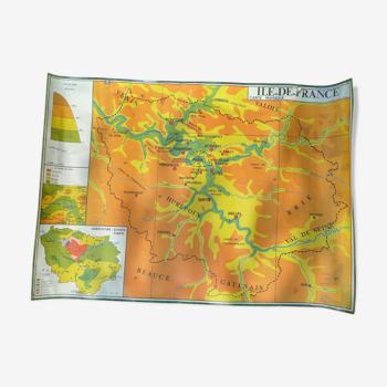 Carte d'école ancienne géographie Ile-de-France