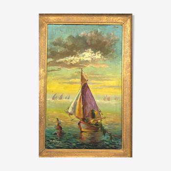 """Huile sur toile signée vintage, """" Couché de soleil sur la mer"""""""