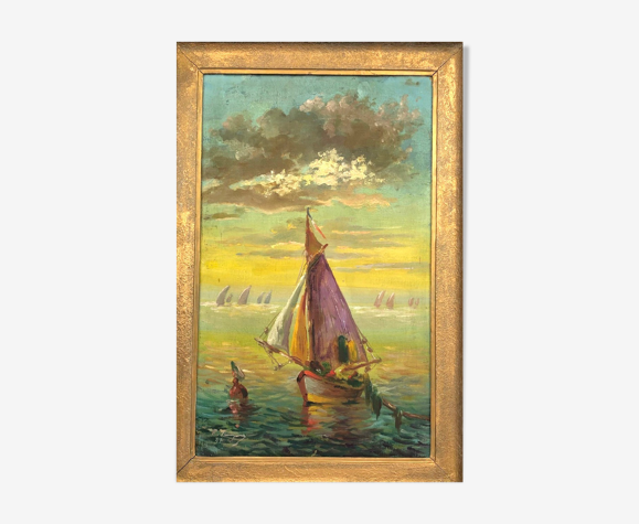 """Oil on canvas signed vintage, """"Sunset over the sea"""""""