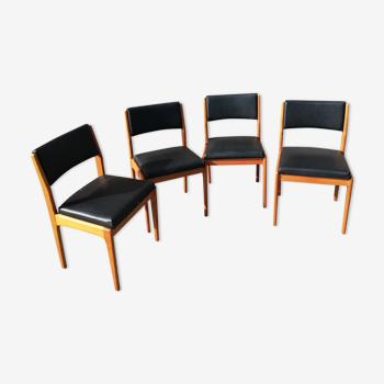Set de 4 chaises vintage skai noir