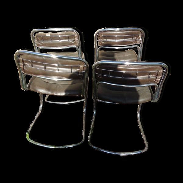 Chaises en cuir & métal chromé 1970