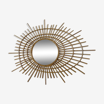 Miroir rotin design ORTF  60 85x64cm